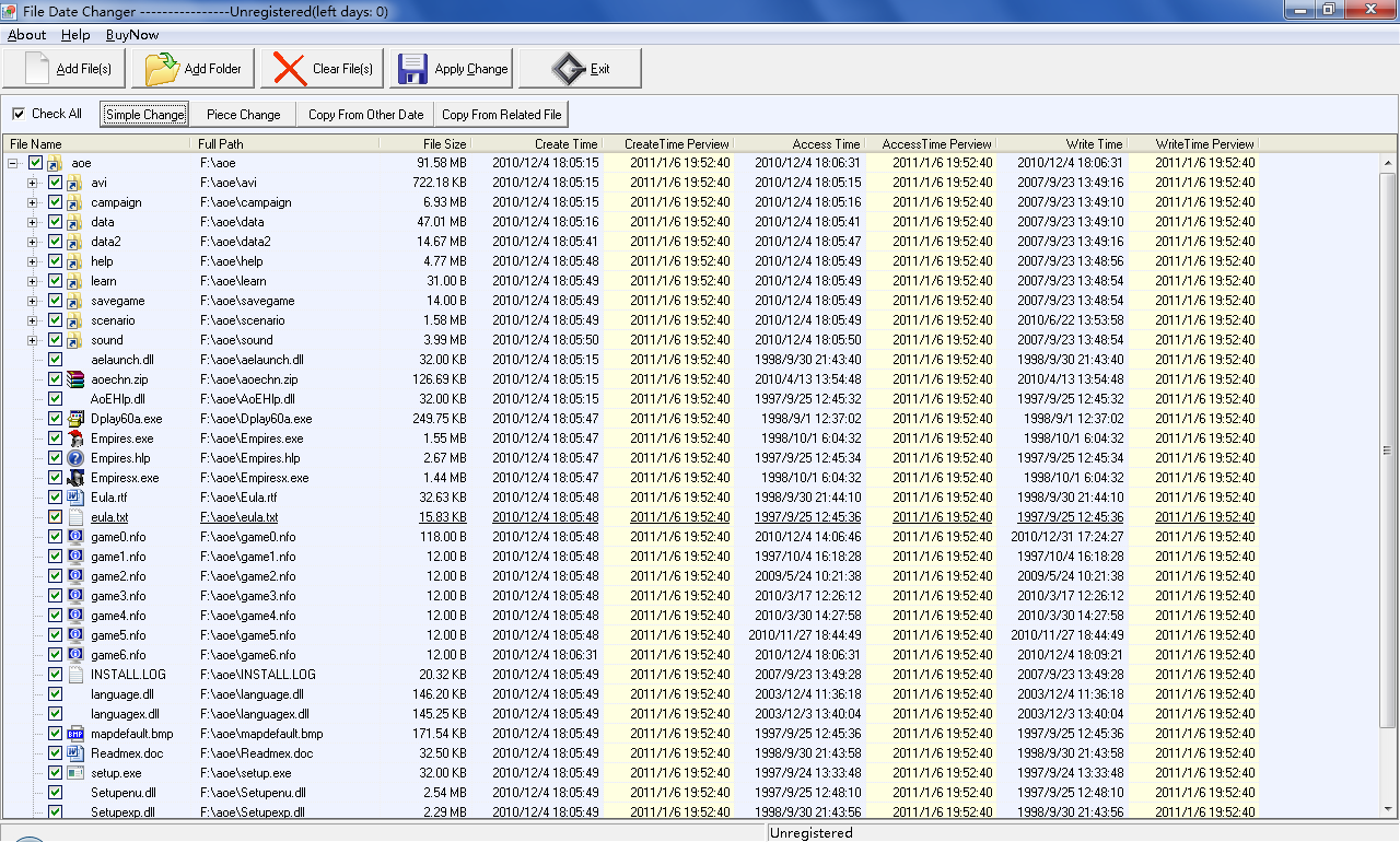FMS File Date Changer screen shot